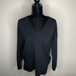 J. Crew V-neck Black Sweater with Pockets Medium